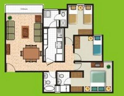 Planos de departamentos gratis y pequeños en 70 m2 y 80 m2