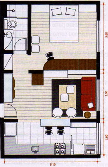Plano de una vivienda gratis con un solo dormitorio