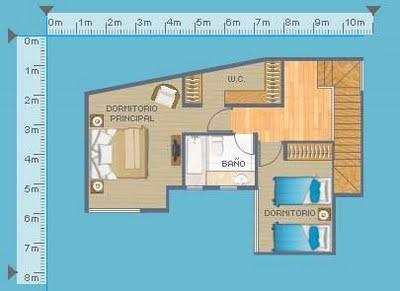 Plano de departamento duplex, con 2 dormitorios en 103 metros cuadrados