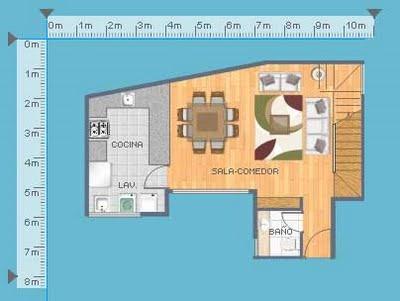 Plano de departamento duplex con 2 dormitorios en 103 for Planos de cocina y lavanderia
