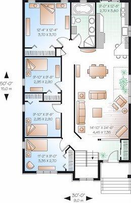 Plano de casa de un pisos cuatro habitaciones y 133 metros for Planos de casas de un piso gratis