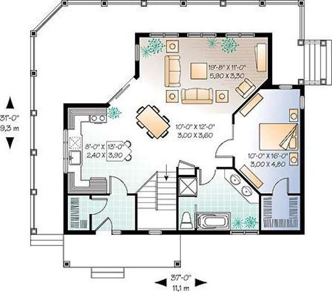 Plano de casa de un solo dormitorio