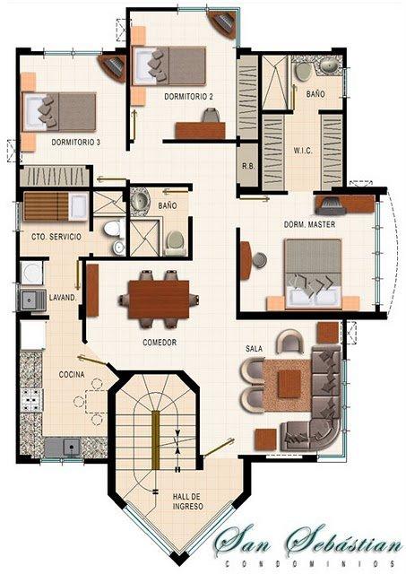 Plano de casa de un piso con 2 dormitorios y dos bares for Planos de casas de un piso gratis
