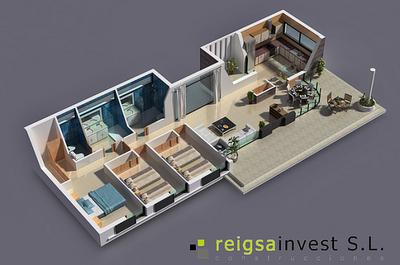 Plano de casa gratis en 3D y de 3 Habitaciones