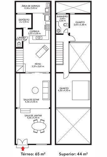 planos de casas de dos pisos con azotea