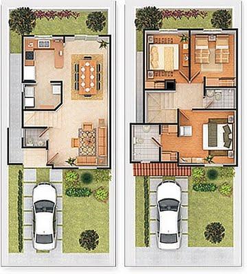 Plano de casa de dos plantas en 278 metros cuadrados - Planos de casas de 2 plantas ...