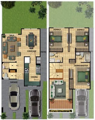 Plano de una casa de 3 pisos en 100 m2 Planos de casas para edificar 