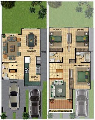 Planos de casas: soluciones de diseño para un terreno largo y ...
