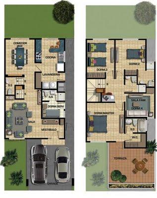 planos de casas de dos pisos minimalistas