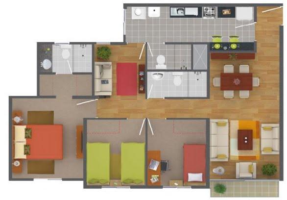 Planos de departamentos gratis en un área de 90 m2 con 3 dormitorios y 2 baños