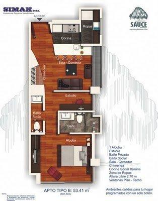 Planos gratis de departamentos de un solo dormitorio en 53 metros cuadrados