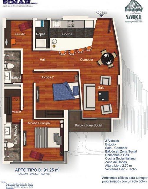 Plano de vivienda peque a gratis con dos habitaciones for Viviendas pequenas