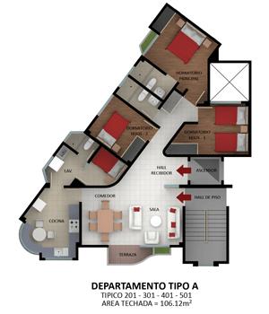 Planos de departamentos en esquina en un edificio de 5 pisos