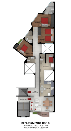 Planos de departamentos en esquina en un edificio de 5 for Departamentos en planos
