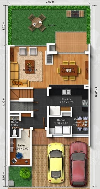Planos de casas gratis de tres pisos en 127.50 m2