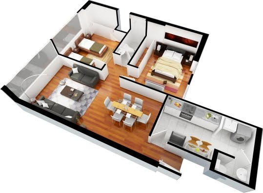 Planos de departamentos gratis de 3 dormitorios y 2 for 3 bedroom apartment interior design