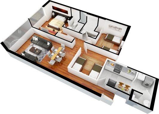 Planos de departamentos gratis de 3 dormitorios y 2 for Plano casa moderna 3 habitaciones