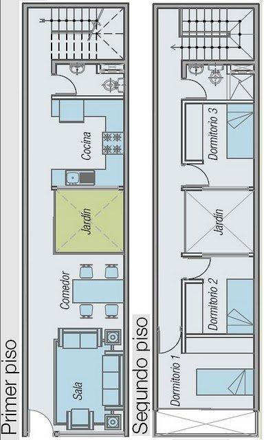Planos de casas: Soluciones de diseño para un terreno largo y angosto