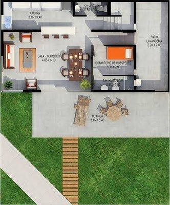 Planos de casas gratis de dos pisos y una terraza
