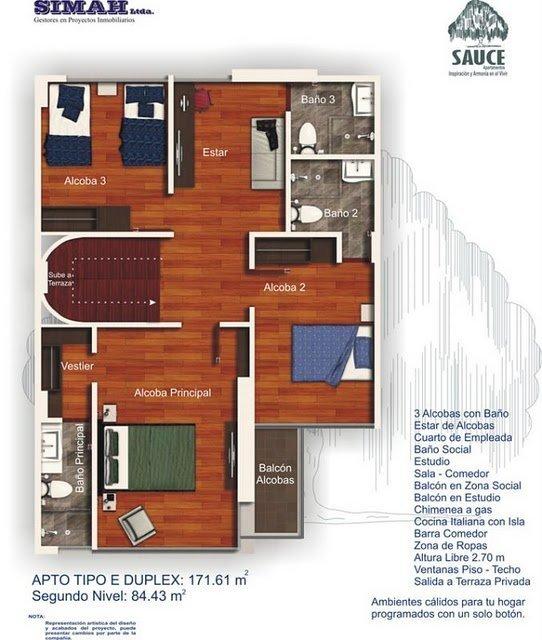 Planos de un departamento duplex con 3 dormitorios