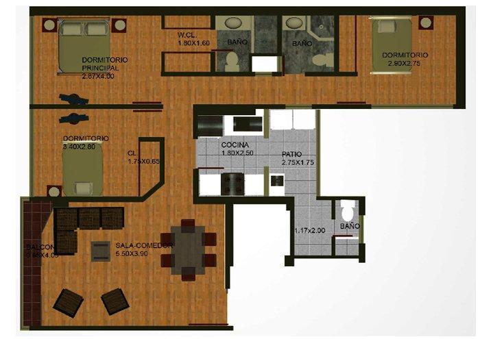 Planos gratis de departamentos con 3 dormitorios en 104 m2