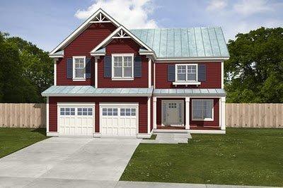 Plano de casa de dos pisos 4 habitaciones en 234 metros cuadrados