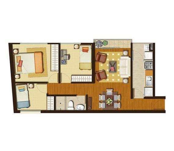 Peque os departamentos de 3 habitaciones en 56 m2 for Disenos de apartamentos modernos pequenos