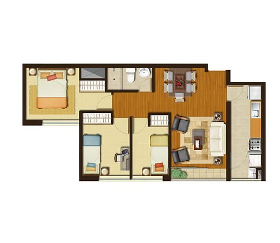 Pequeños Departamentos de 3 habitaciones en 56 m2