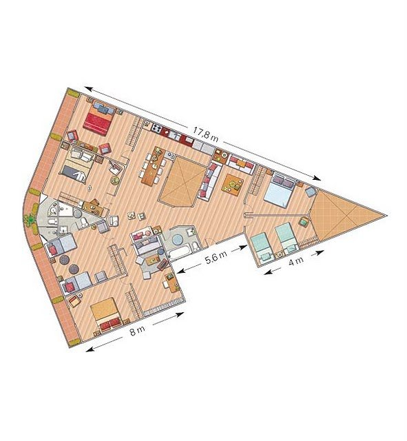 Plano de una casa de forma triangular