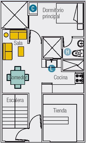 Planos de dos mini departamento en un area de 60m2 for Planos de departamentos