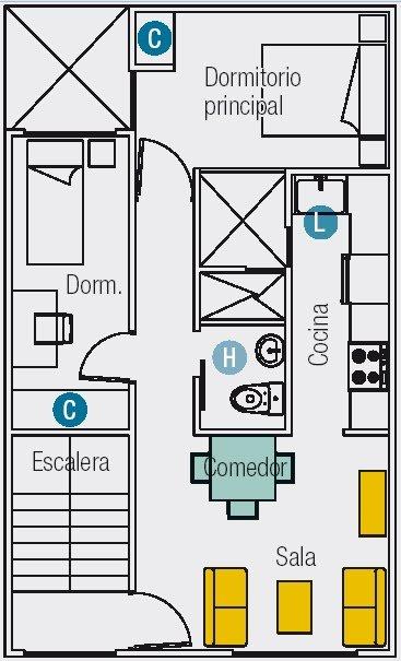 planos de casas de 2 pisos de 6×10