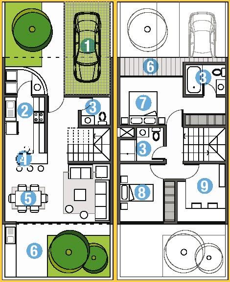 Planos de casas en dos pisos y azotea en un area de de 90m2