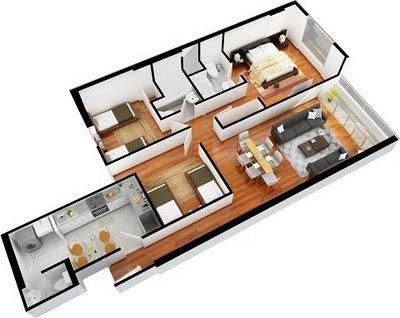 Planos de departamentos gratis de 3 dormitorios y 2 for Planos casa minimalista 3d