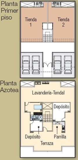 Planos de departamentos, con los primeros pisos para uso de tiendas