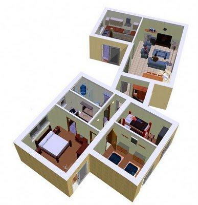 Plano de una casa de 3 dormitorios en 90 metros cuadrados