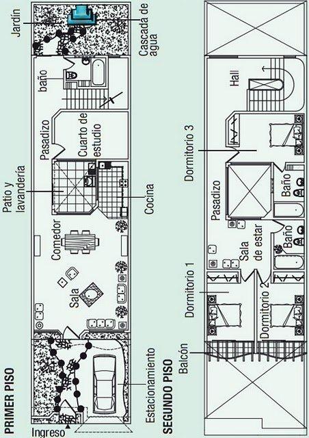 Planos de una casa de 2 pisos en 150 m2