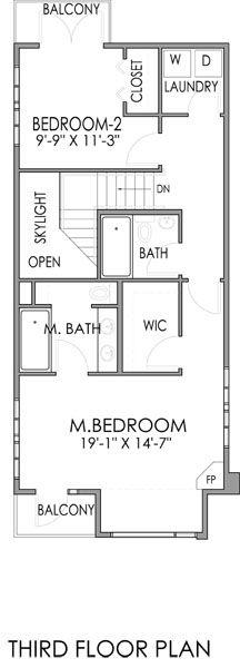 Plano de Casa de tres plantas dos dormitorios y 237 metros cuadrados, ideal para terrenos angostos