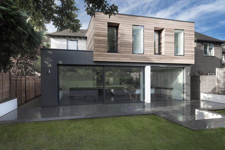 Planos de una casa de vidrio y madera en Hampshire 1950 por AR Design Studio